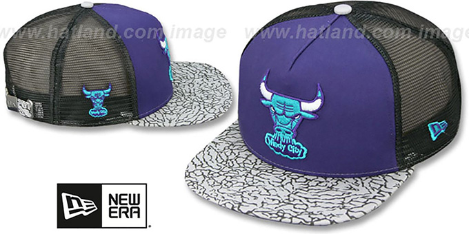 Bulls 'ELEPHANT-HOOK STRAPBACK' Purple-Black Hat by New Era : pictured without stickers that these products are shipped with