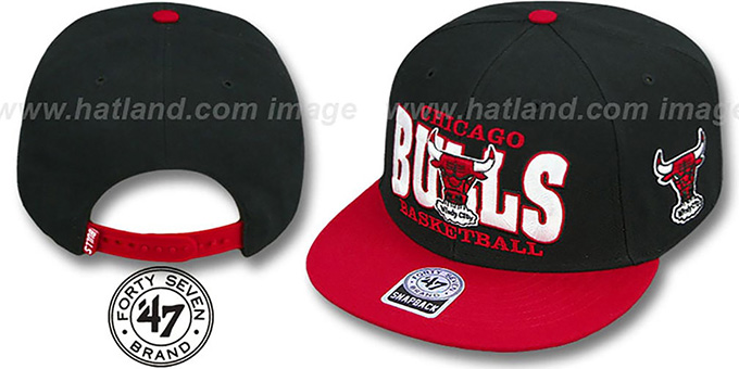 Bulls 'FIRST CLASS SNAPBACK' Black-Red Hat by Twins 47 Brand : pictured without stickers that these products are shipped with