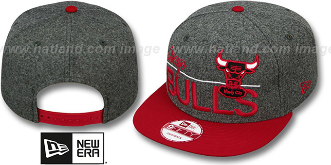 Bulls 'FLANNEL SNAPBACK' Grey-Red Hat by New Era : pictured without stickers that these products are shipped with