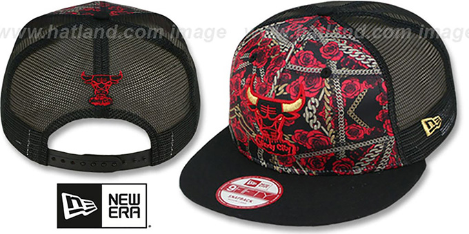 Bulls 'FLORAL CHAIN SNAPBACK' Hat by New Era : pictured without stickers that these products are shipped with