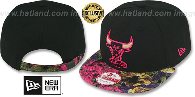 Bulls 'FLORAL-FUR STRAPBACK' Black-Pink Hat by New Era : pictured without stickers that these products are shipped with