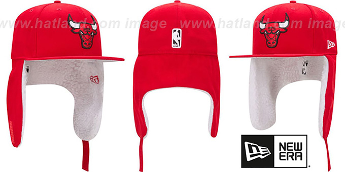 Bulls 'FLURRY-FIT DOGEAR' Red Fitted Hat by New Era : pictured without stickers that these products are shipped with