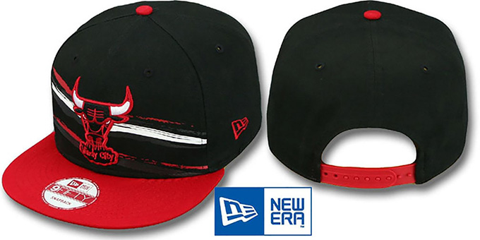 Bulls 'FRANTAB SNAPBACK' Black-Red Adjustable Hat by New Era : pictured without stickers that these products are shipped with