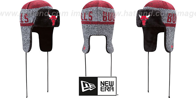 Bulls 'FROSTWORK TRAPPER' Red Knit Hat by New Era : pictured without stickers that these products are shipped with