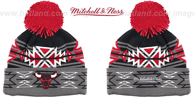 Bulls HWC 'GEOTECH' Knit Beanie by Mitchell and Ness : pictured without stickers that these products are shipped with