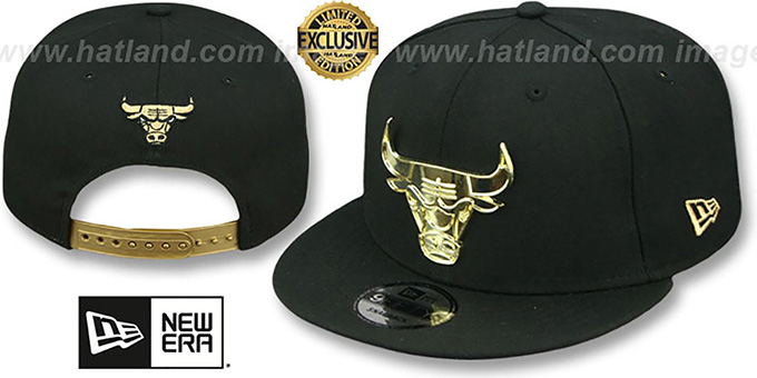 32c0b47c Chicago Bulls GOLD METAL-BADGE SNAPBACK Black Hat by New Era