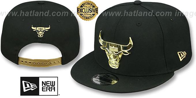 Chicago Bulls GOLD METAL-BADGE SNAPBACK Black Hat by New Era 6d1093e69ba0