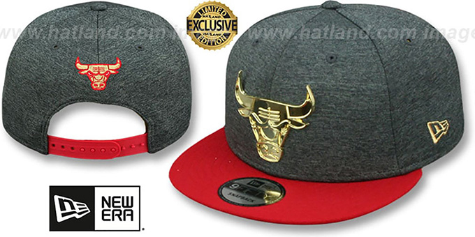 f06fd693740 Bulls  GOLD METAL-BADGE SNAPBACK  Shadow Tech-Red Hat by New Era