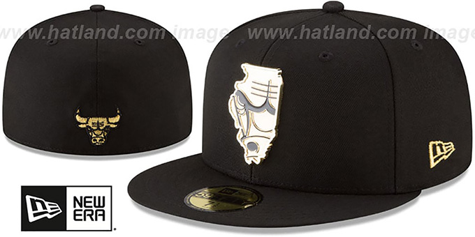 d5061183d88 Bulls  GOLD STATED METAL-BADGE  Black Fitted Hat by New Era