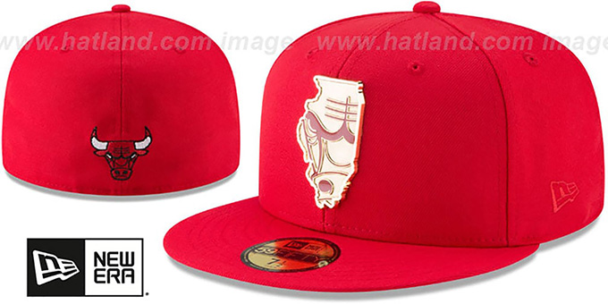 e8969dea392 Bulls  GOLD STATED METAL-BADGE  Red Fitted Hat by New Era
