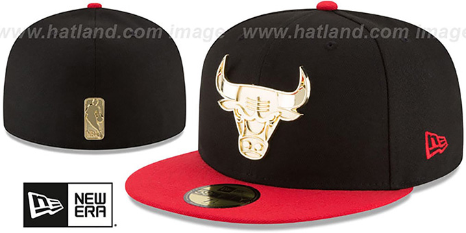 Bulls 'GOLDEN-BADGE' Black-Red Fitted Hat by New Era