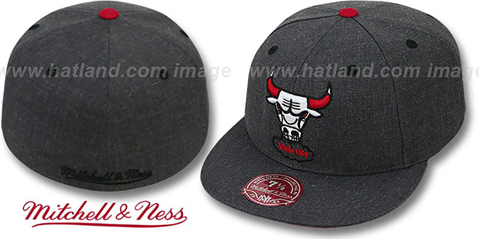 Bulls 'GREY HEDGEHOG' Fitted Hat by Mitchell & Ness : pictured without stickers that these products are shipped with