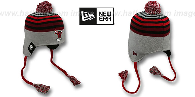 Bulls 'GREY STRIPETOP' Knit Beanie Hat by New Era : pictured without stickers that these products are shipped with