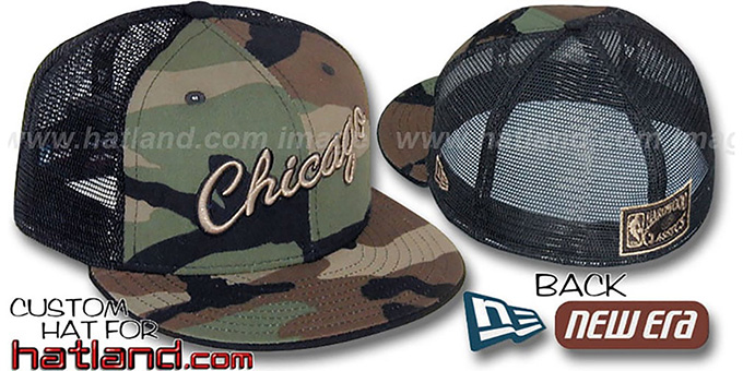 Bulls 'HARDWOOD ARMY CAMO MESH-BACK'  Fitted Hat : pictured without stickers that these products are shipped with