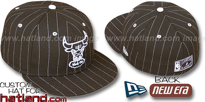 Bulls HARDWOOD 'PINSTRIPE' Brown-White Fitted Hat by New Era : pictured without stickers that these products are shipped with