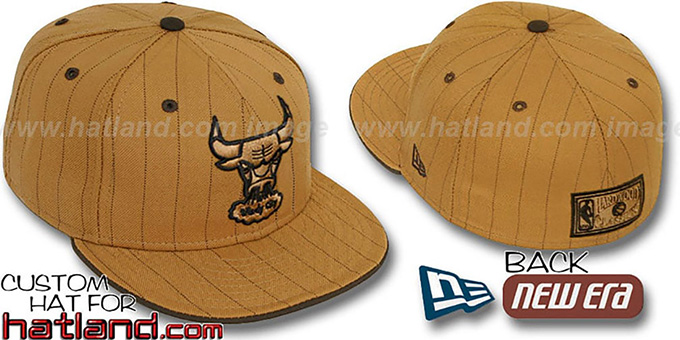 Bulls HARDWOOD 'PINSTRIPE' Wheat-Brown Fitted Hat by New Era : pictured without stickers that these products are shipped with