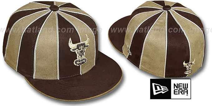 Bulls 'HARDWOOD SUEDE 12-PACK' Brown-Wheat Fitted Hat by New Era : pictured without stickers that these products are shipped with