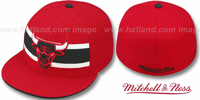 Bulls 'HARDWOOD TIMEOUT' Red Fitted Hat by Mitchell & Ness : pictured without stickers that these products are shipped with