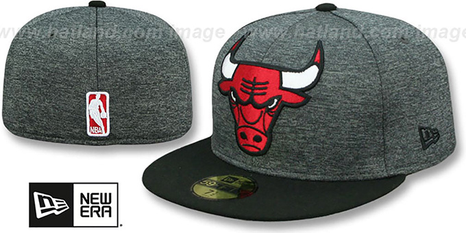 Bulls 'HEATHER-HUGE' Grey-Black Fitted Hat by New Era : pictured without stickers that these products are shipped with
