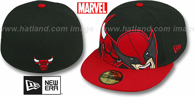 Bulls 'HERO-HCL' Black-Red Fitted Hat by New Era : pictured without stickers that these products are shipped with