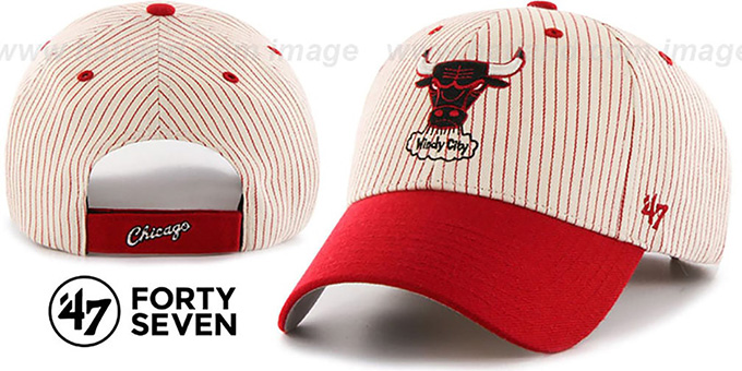 Bulls 'HOME-RUN PINSTRIPE STRAPBACK' Hat by Twins 47 Brand : pictured without stickers that these products are shipped with