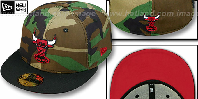 Bulls HW  '2T CAMO' Army-Black Fitted Hat by New Era : pictured without stickers that these products are shipped with