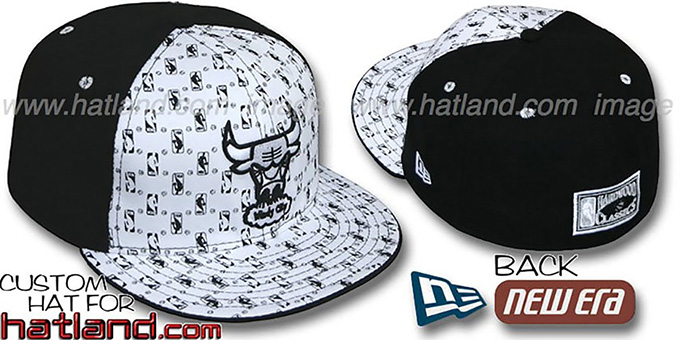 Bulls HW-NBA FLOCKING 'PINWHEEL' White-Black Fitted Hat : pictured without stickers that these products are shipped with