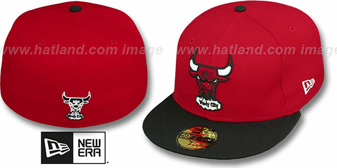 Bulls HW 'TEAM-BASIC' 2 Red-Black Fitted Hat by New Era : pictured without stickers that these products are shipped with