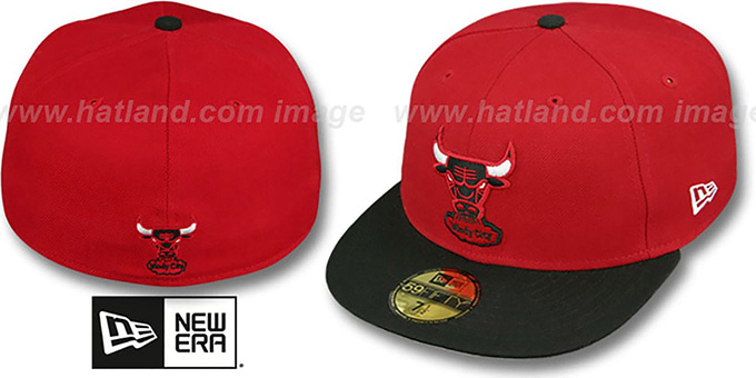Bulls HW 'TEAM-BASIC' Red-Black Fitted Hat by New Era : pictured without stickers that these products are shipped with