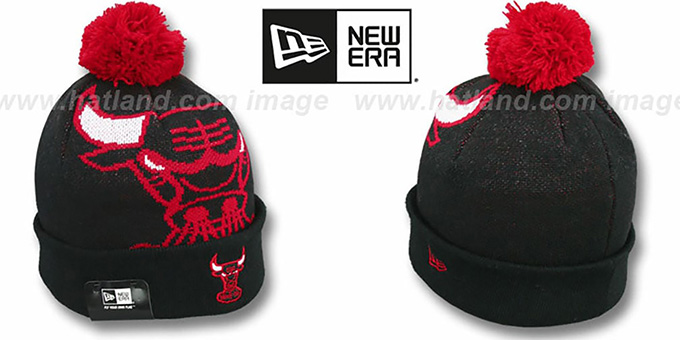 Bulls 'HWC-BIGGIE' Black Knit Beanie Hat by New Era : pictured without stickers that these products are shipped with