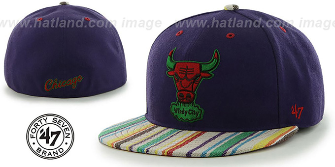 Bulls 'HWC BODHI' Purple Fitted Hat by 47 Brand : pictured without stickers that these products are shipped with