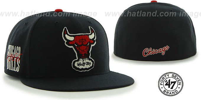 Bulls 'HWC CATERPILLAR' Black Fitted Hat by 47 Brand : pictured without stickers that these products are shipped with