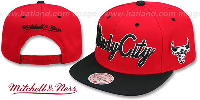 e85900844d6 Bulls HWC  CITY NICKNAME SCRIPT SNAPBACK  Red-Black Hat by Mitchell and Ness