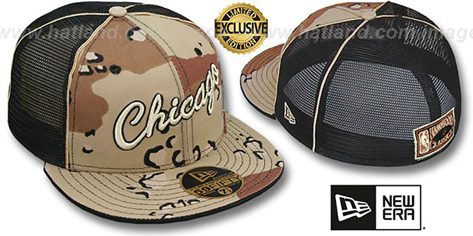 Bulls HWC 'DESERT STORM MESH-BACK' Fitted Hat by New Era : pictured without stickers that these products are shipped with