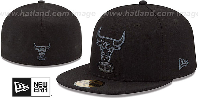 Bulls 'HWC FADEOUT-BASIC' Black Fitted Hat by New Era : pictured without stickers that these products are shipped with