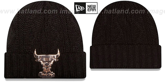 Bulls HWC 'HARDWARE LOGO' Black Knit Beanie Hat by New Era : pictured without stickers that these products are shipped with