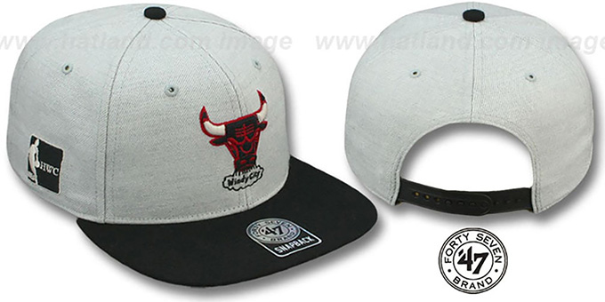Bulls HWC 'SATCHEL SNAPBACK' Grey-Black Adjustable Hat by Twins 47 Brand : pictured without stickers that these products are shipped with