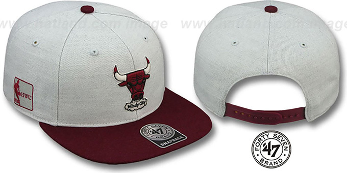 Bulls HWC 'SATCHEL SNAPBACK' Grey-Maroon Adjustable Hat by Twins 47 Brand : pictured without stickers that these products are shipped with
