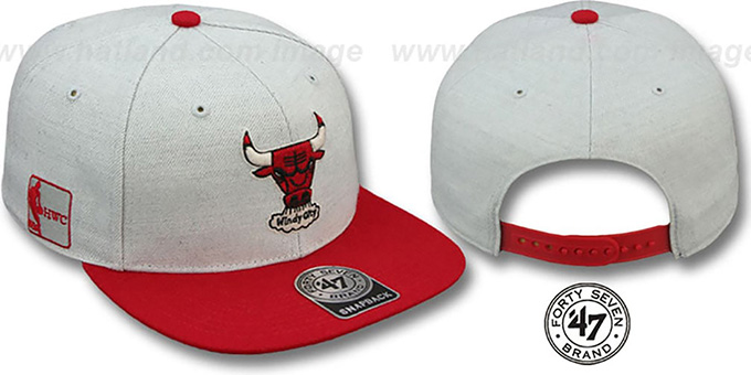 Bulls HWC 'SATCHEL SNAPBACK' Grey-Red Adjustable Hat by Twins 47 Brand : pictured without stickers that these products are shipped with