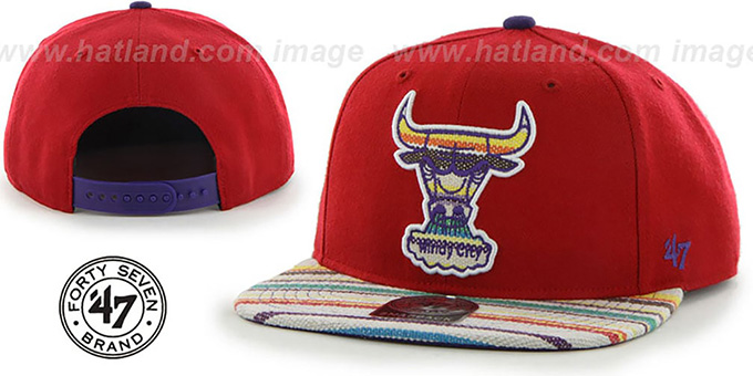 Bulls 'HWC WARCHILD SNAPBACK' Red Hat by Twins 47 Brand : pictured without stickers that these products are shipped with