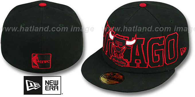 Bulls 'HWC WRAP-IT-UP' Black Fitted Hat by New Era : pictured without stickers that these products are shipped with