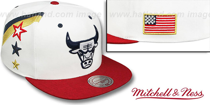 Bulls 'INDEPENDENCE SNAPBACK' Hat by Mitchell and Ness : pictured without stickers that these products are shipped with