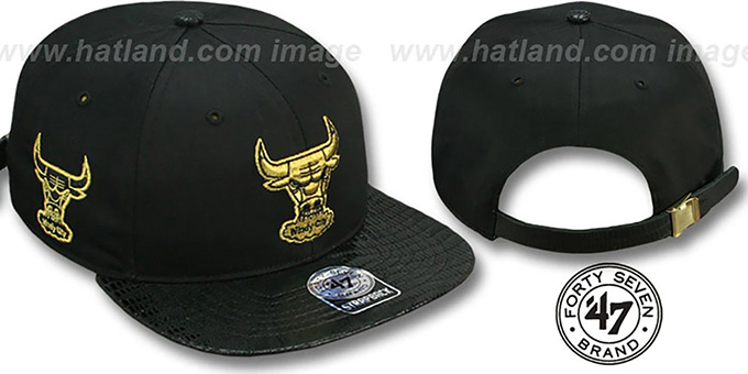 Bulls 'JULIGUNK STRAPBACK' Black-Gold Hat by Twins 47 Brand : pictured without stickers that these products are shipped with