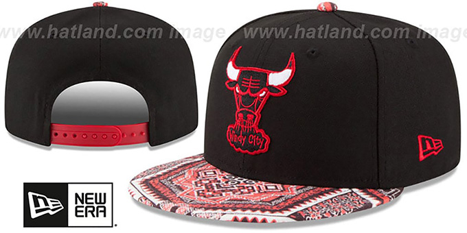 Bulls 'KALEIDOVIZE SNAPBACK' Black Hat by New Era : pictured without stickers that these products are shipped with
