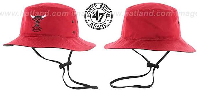 Bulls 'KIRBY BUCKET' Red Hat by Twins 47 Brand : pictured without stickers that these products are shipped with