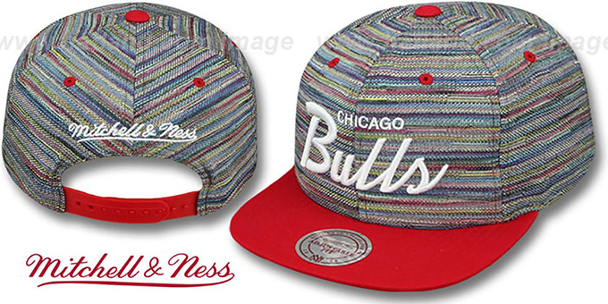 Bulls 'KNIT-WEAVE SNAPBACK' Multi-Red Hat by Mitchell and Ness : pictured without stickers that these products are shipped with