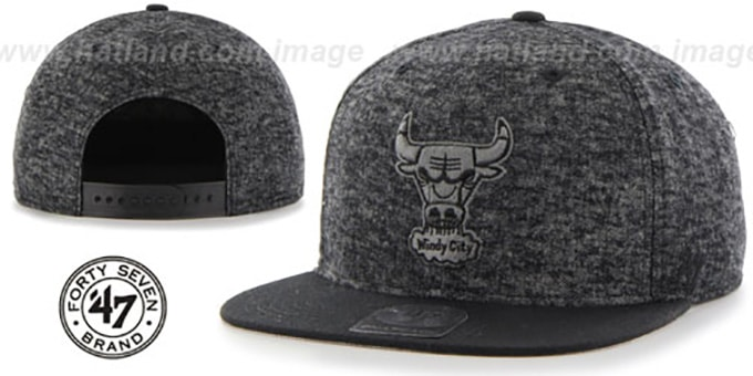 Bulls 'LEDGEBROOK SNAPBACK' Black Hat by Twins 47 Brand : pictured without stickers that these products are shipped with