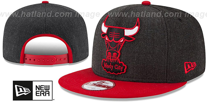 9e776a30948 Bulls  LOGO GRAND SNAPBACK  Charcoal-Red Hat by New Era