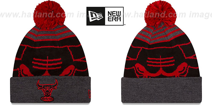Bulls 'LOGO WHIZ' - 2 Black-Charcoal Knit Beanie Hat by New Era : pictured without stickers that these products are shipped with
