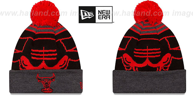 Bulls 'LOGO WHIZ' Black-Charcoal Knit Beanie Hat by New Era : pictured without stickers that these products are shipped with